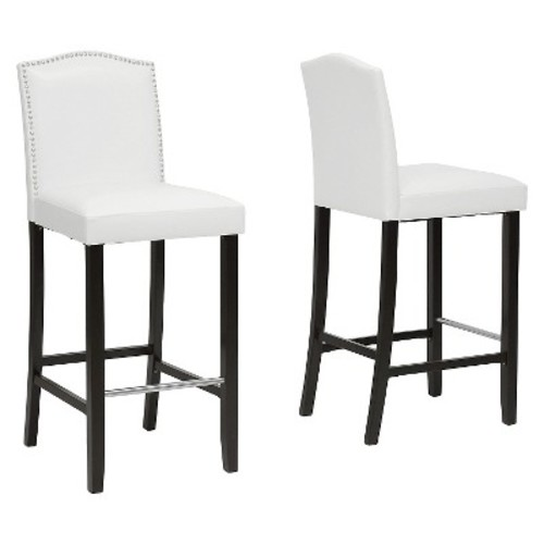 Aries White Leather Modern Bar Stool with Nail Head Trim Set of 2