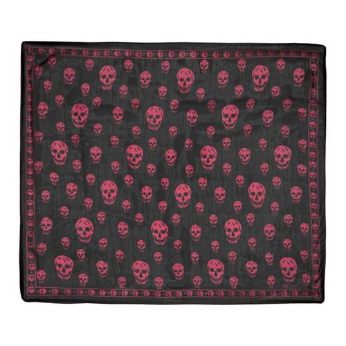 ALEXANDER MCQUEEN Black & Pink Silk Skull Scarf