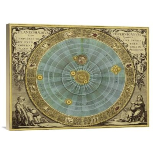 'Maps of the Heavens: Planisphaerium Copernicanum' Watercolor Painting Print on Canvas
