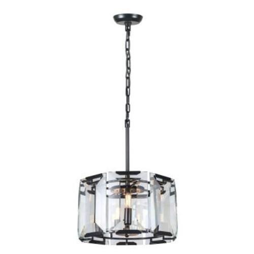 Elegant Lighting Monaco 4-Light Flat Black Matte Glass Crystal Clear Pendant