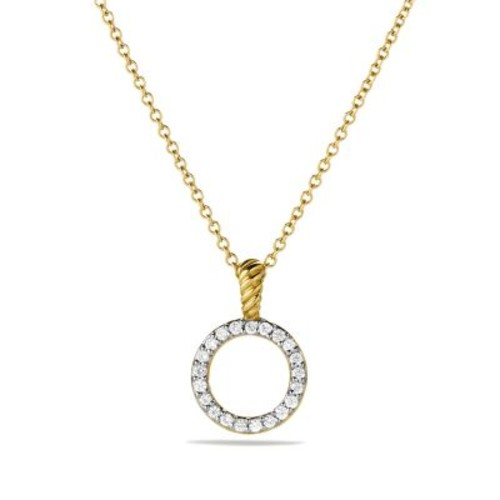 Cable Collectibles Circle Pendant with Diamond in Gold on Chain