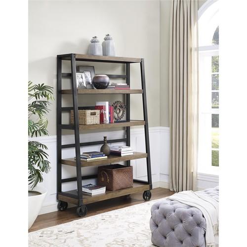 Dorel Wade Rustic Gray Wood Veneer Bookcase