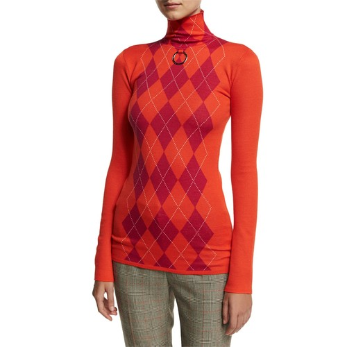 STELLA MCCARTNEY Argyle Wool Turtleneck Sweater, Pink/Red