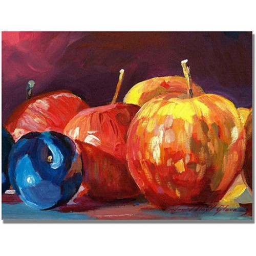 Trademark Global David Lloyd Glover 'Ripe Plums and Apples' Canvas Art [Overall Dimensions : 35x47]