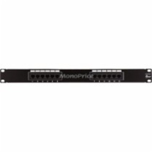 Monoprice - Cat5 Enhanced Patch Panel 110Type 12 port (568A/B Compatible) - Black