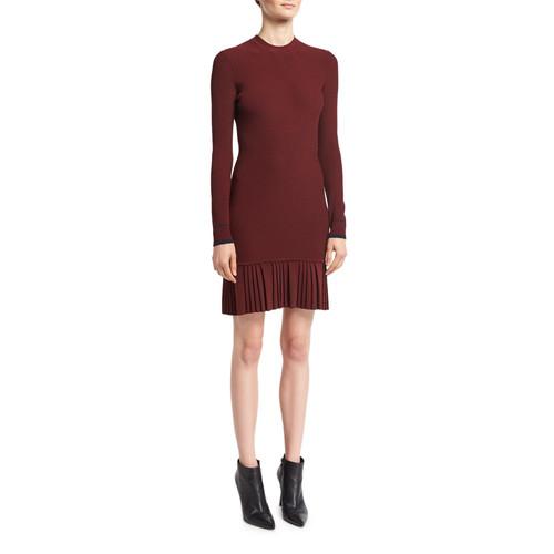 3.1 PHILLIP LIM Long-Sleeve Pleated Rib-Knit Mini Dress, Red