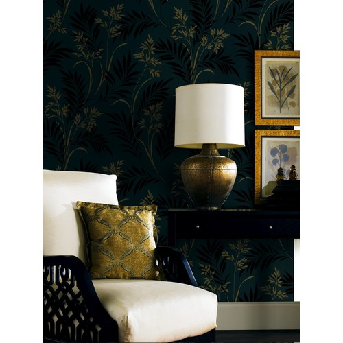 Bali Hai Foliage Wallpaper in Black by Brewster Home Fashions - 2 [Quantity : 2]