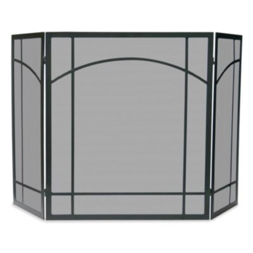 UniFlame 3-Fold Mission Design Fireplace Screen in Black Wrought Iron