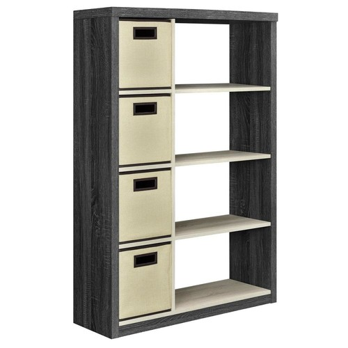 Ameriwood Home Ivywood Espresso and Light Brown Storage Open Bookcase with 4-Bins