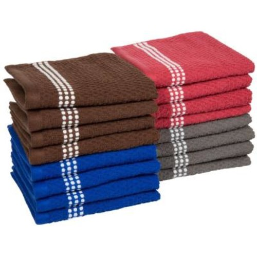 Lavish Home 16-Piece Cotton Popcorn Towel Set in Multi-Colors