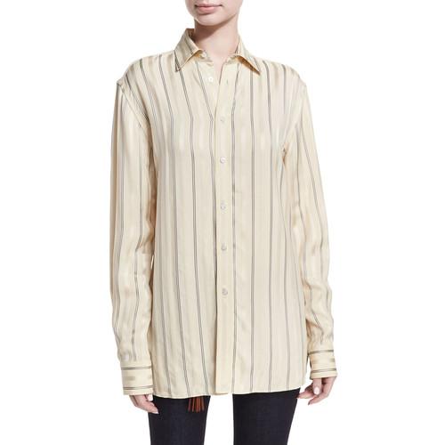 RALPH LAUREN COLLECTION Adrien Satin-Stripe Boyfriend Shirt