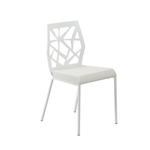 Eur Style Sophia Side Dining Chair, Set of 2, White Back and Seat with White Powder Coated Steel Legs [white]
