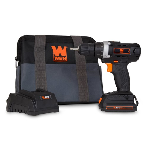 WEN 20-Volt MAX Lithium-Ion Cordless Drill/Driver w/ Bits and Carrying Bag
