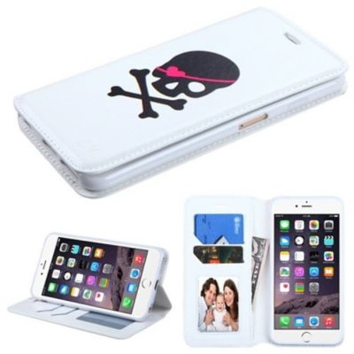 Insten Skull Folio Leather Fabric Case w/stand/card holder For Apple iPhone 6 Plus - White/Black