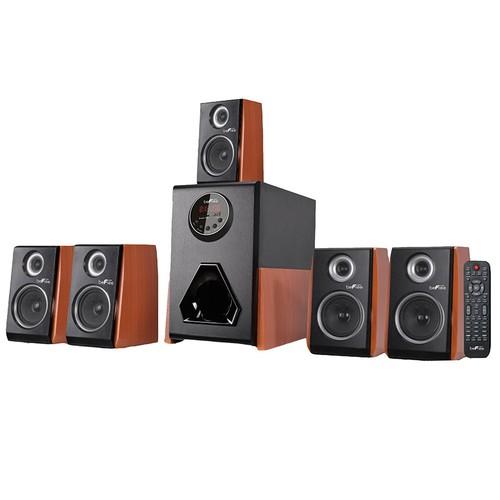 beFree Sound BFS_450W Luxury 5.1 Channel Surround Sound Bluetooth Speaker System with Wood Finish Accents