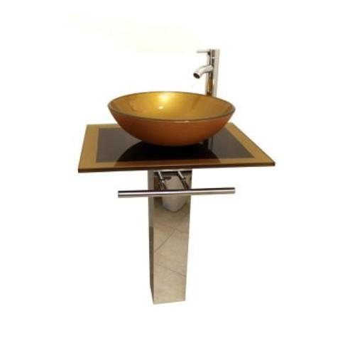 Kokols Parvati Pedestal Combo Bathroom Sink in Mustard G