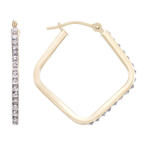 Diamond Fascination 14K Yellow Gold Triangle Hoop Earring