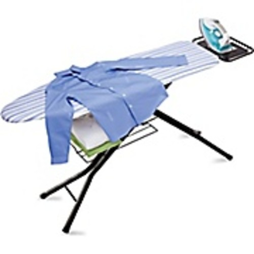 Honey Can Do 4 Leg HD Ironing Board with Iron Rest, pad- White/Blue Stripe (BRD-01957)