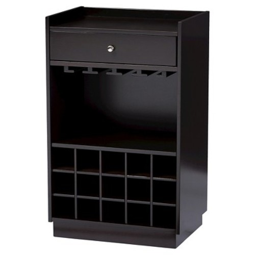 Oscar Modern & Contemporary Dark Brown Wood Modern Dry Bar & Wine Cabinet - Baxton Studio