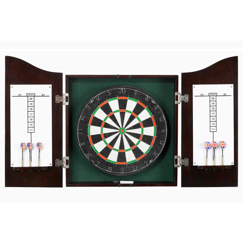 Hathaway Centerpoint Solid Wood Dartboard and Cabinet Set - Dark Cherry Finish