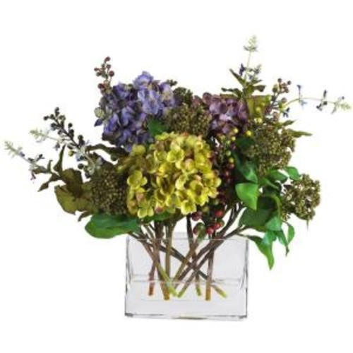 Nearly Natural 12 in. Mixed Hydrangea Silk Flower Arrangement with Rectangle Vase
