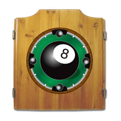 8-Ball Pine-Wood Cabinet Dartboard with 2 Dart Sets