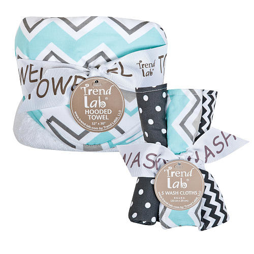 Trend Lab Seashore Waves Zigzag 6 Piece Hooded Towel and Wash Cloth Set
