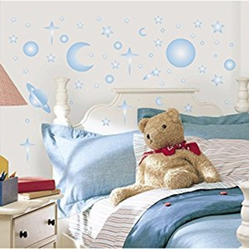 RoomMates RMK1141SCS Celestial Glow in the Dark Peel & Stick Wall Decals, 258 Count