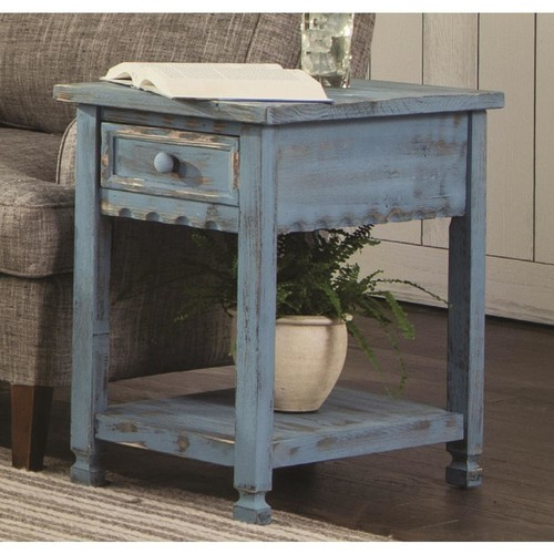 Alaterre Furniture Country Cottage Blue Antique Chairside Table