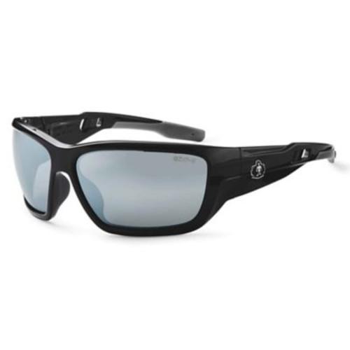 Skullerz BALDR Safety Glasses, Silver Mirror Lens, Black (57042)