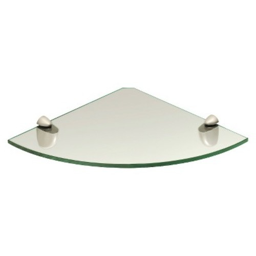 Large Clear Glass Corner Shelf w/Stainless Steel Supports