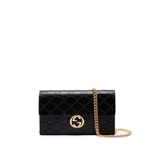 GUCCI Icon Ssima Wallet On Chain, Black