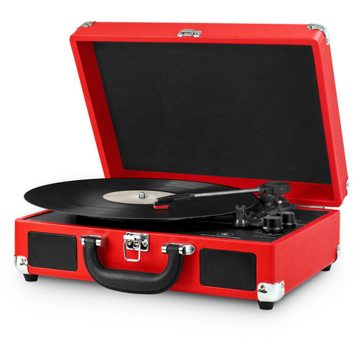Portable Victrola Suitcase Record Player with Bluetooth and 3 Speed Turntable, Red