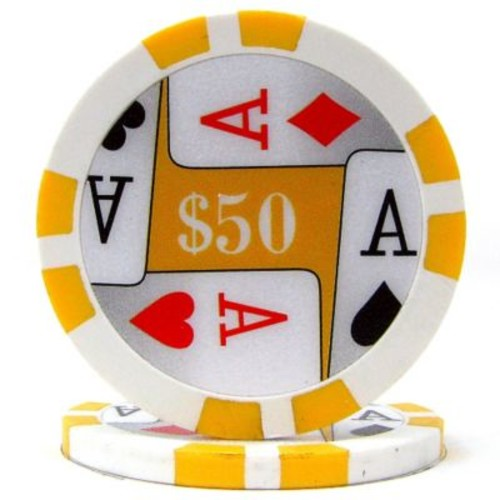 Trademark Poker 11.5g 4 Aces Premium $50 Poker Chips, Yellow, 50/Set