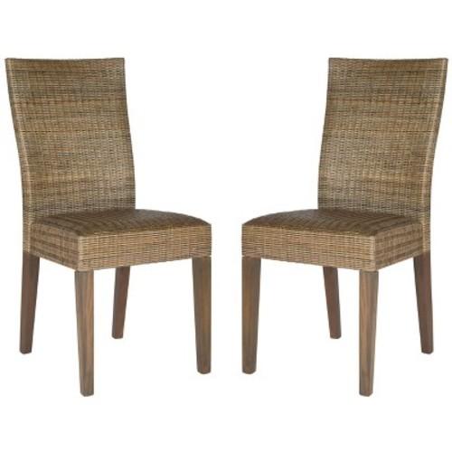 Lizzy Side Chair Wood/Dark Brown (Set of 2) - Safavieh