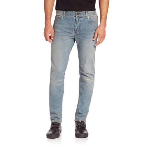 SAINT LAURENT Repaired Knee Straight-Leg Jeans