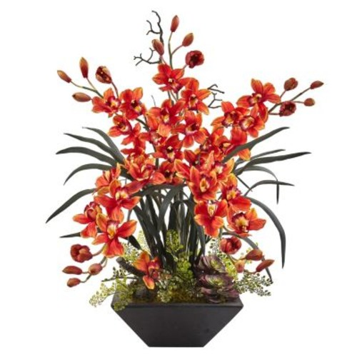 nearly natural Cymbidium Orchid Silk Artificial Floral Arrangement