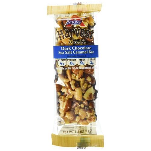 Atkins Harvest Trail Bars Dark Chocolate Sea Salt Caramel, 4g Net Carbs, 8g Protein, 1g Sugar, 1.3-Ounce-9-Bars (Packaging May Vary)