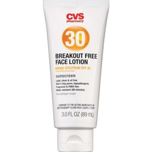 CVS Breakout-Free Face Sunscreen Lotion Broad Spectrum, SPF 30, 3 OZ