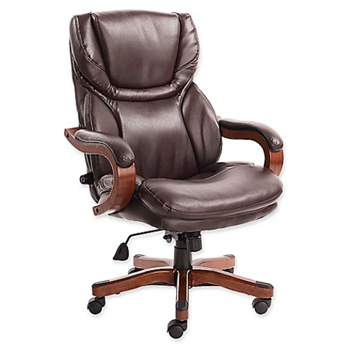 Serta Big and Tall Bonded Leather Executive Chair in Biscuit