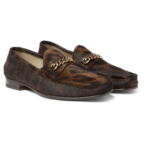 TOM FORD - York Chain-Trimmed Leopard-Print Calf Hair Loafers