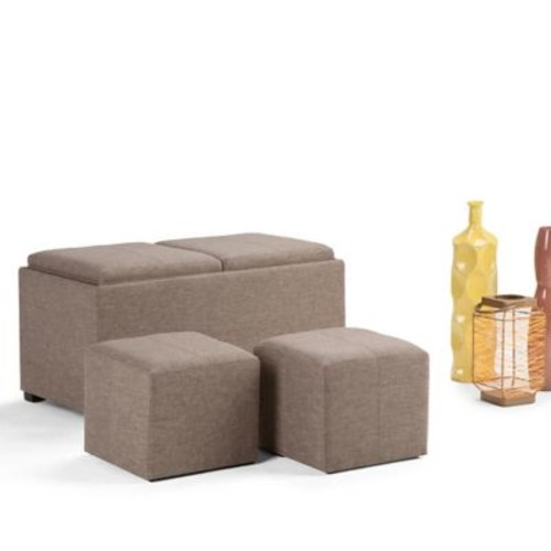 Avalon Linen Look 5 piece Storage Ottoman in Fawn Brown (3AXCOT-240-BT)