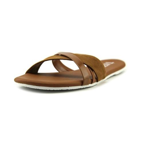 Tkees Kenzie Women Open Toe Leather Tan Slides Sandal