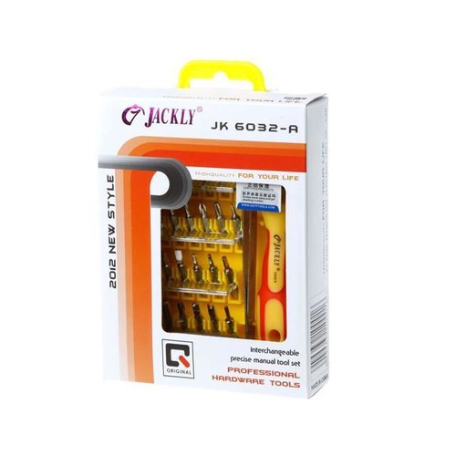 JACKLY 32 -in -1 Pocket Precision Screwdriver Kit Magnetic Screwdriver cell phone tool repair box power tools 6032A