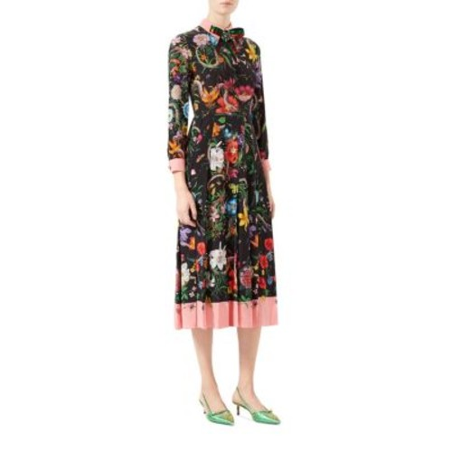 GUCCI Flora Snake Print Silk Dress