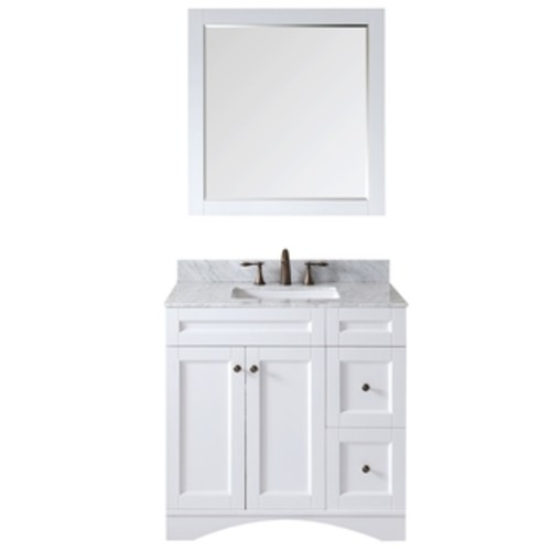 Wyndham Collection Amare 36-inch Glossy White/ Green Glass Single Vanity with Mirror and Polished Sink [option : Glossy White,GRN Glass Top,BLK GRNT Sink,24