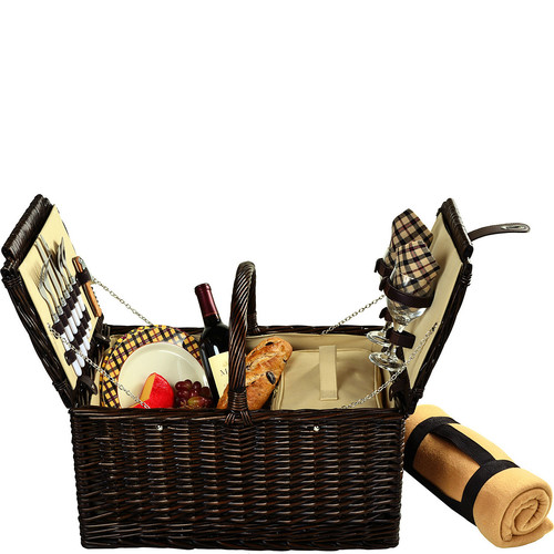Picnic at Ascot Surrey Willow Picnic Basket with Service for 2 with Blanket - London Plaid [Brown Wicker- London Plaid Plates/Napkins]