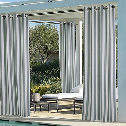 Commonwealth Home Fashions Coastal Stripe 84-Inch Indoor/Outdoor Window Curtain Panel in Dark Grey