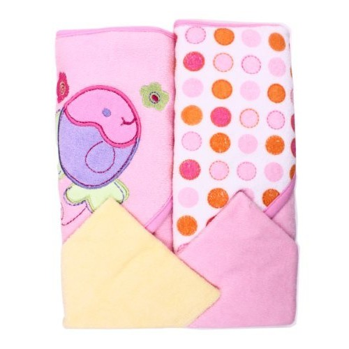 Spasilk Hooded Terry Bath Towel with Washcloths, Fish Pink, 2-Count [pink fish]