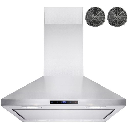 AKDY 30 in. Convertible Kitchen Island Mount Range Hood in Stainless Steel with LEDs, Touch Control and Carbon Filter